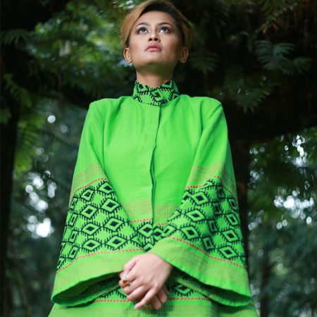 Empower Mishing Coat and Skirt Ensemble (Green & Black)