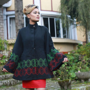 Mishing Coat & Skirt Ensemble (Green and Red on Black)