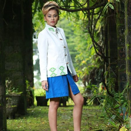 Empower Mishing Chinese Collar Coat and Miniskirt
