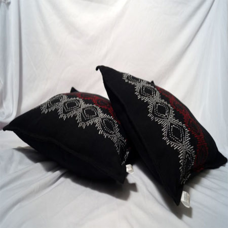 Empower Assamese Cushion Covers (White & Red on Black)