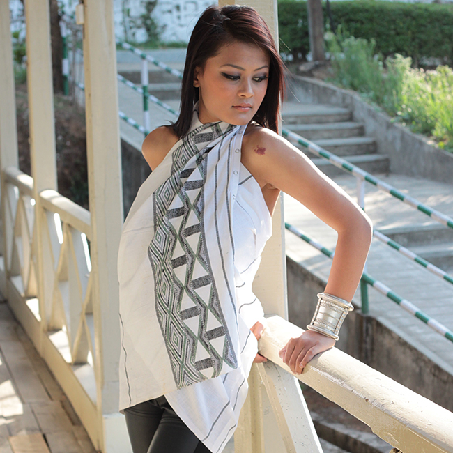 Empower Mishing MultiStyle Scarf - Multi colour design on White