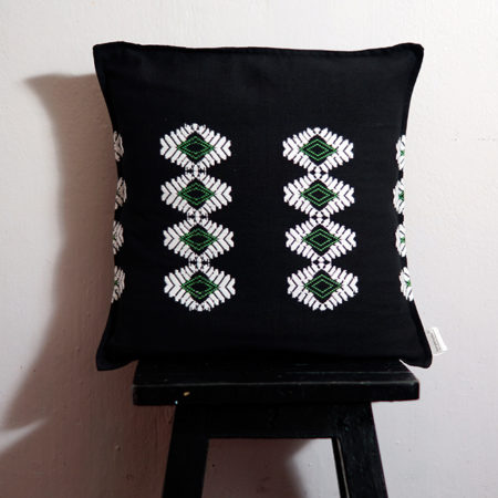 Empower Mishing Cushion Covers (Black & Green Diamond Pattern)