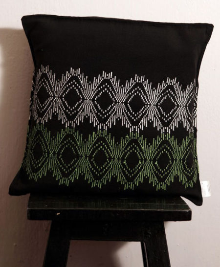 Empower Mishing Cushion Covers (White and Green on Black)
