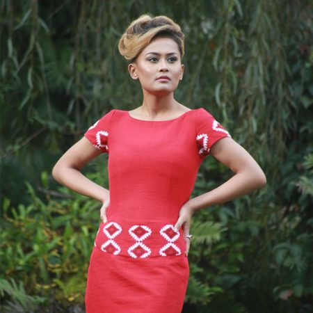 Empower Mishing Cocktail Dress (Red & White)